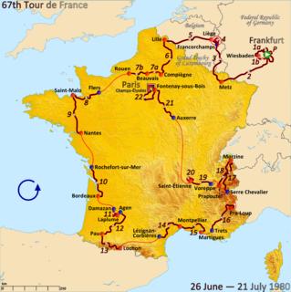1980 Tour de France, Prologue to Stage 10 Wikimedia list article