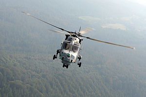 825 Naval Air Squadron - An 825 NAS Wildcat in flight over the UK