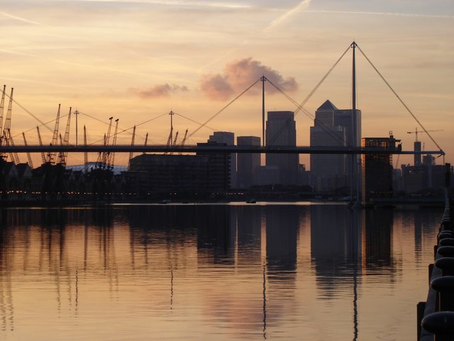 Royal Victoria Dock - with Canary Wharf and the Millennium Dome in the background - geograph.org.uk - 1168534