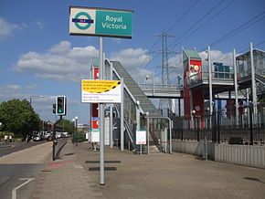Royal Victoria stn entrance.JPG
