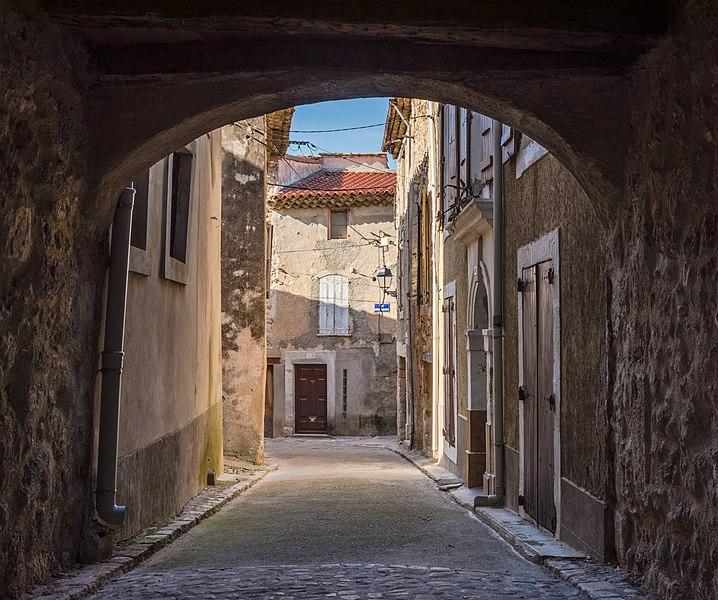 Henri Carrière Street seen from Southeast.Murviel-lès-Béziers, Hérault, France.