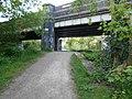 Rugby Central north platform end, and Hillmorton Road bridge 5.20.jpg