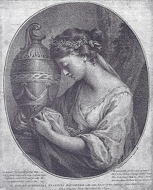 Anne Hunter - Anne Home as The Pensive Muse, before her marriage to John Hunter. Engraving by W. W. Ryland, after a lost portrait by Angelica Kauffman, 1767.
