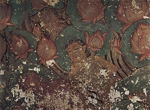 Sittanavasal -  A fresco-secco  painting