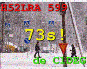 Slow-scan television - SSTV transmissions often include station call signs, RST reception reports, and radio amateur jargon.