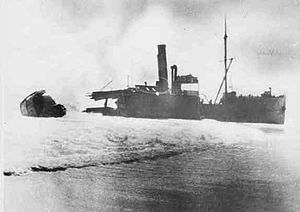 SS Ferret - The Ferret breaking up on the beach at Cape Spencer in 1920