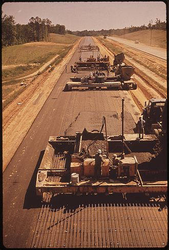 Interstate Highway System - I‑55 under construction in Mississippi, photo from May 1972