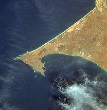 Photographie satellite d'une presqu'île.