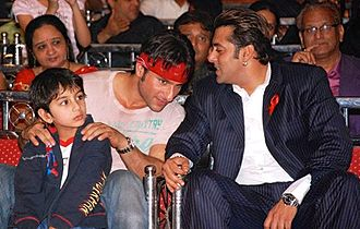 Salman Khan - Khan (right) with Saif Ali Khan at an event for World Aids Day in 2007
