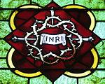 Saint Luke Catholic Church (Danville, Ohio) - stained glass, crown of thorns & nails.JPG