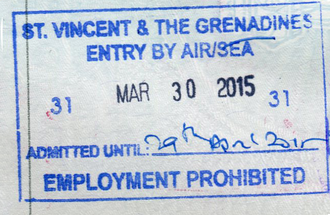 Visa policy of Saint Vincent and the Grenadines - Entry Stamp