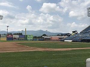 Salem Memorial Ballpark - The view of the Blue Ridge Mountains from the third base line at Salem Memorial Ballpark