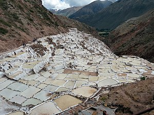 Salt - Ponds near Maras, Peru, fed from a mineral spring and used for salt production since the time of the Incas.