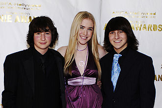 Monster House (film) - Sam Lerner, Spencer Locke, and Mitchel Musso at the 34th Annie Awards red carpet at the Alex Theatre in Glendale, California.
