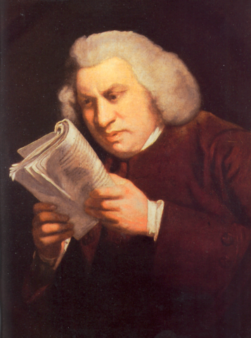 Портрет, написанный в 1775 Джошуа Рейнольдсом, показывает концентрацию и слабость зрения Джонсона.