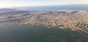 Mission Bay, San Francisco - View of San Francisco from the east.  Mission Bay is in the lower center.