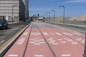 Third Street Light Rail Project - New tracks on 3rd Street north of 16th Street in September 2005