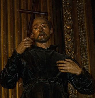 Sevillian school of sculpture - Image of Saint Ignatius of Loyola. Martínez Montañés sculpted the face and hands in 1610 at the time Ignatius was beatified. The sculpture is now in the Church of the Annunciation in Seville.
