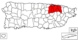 San Juan–Caguas–Guaynabo metropolitan area - Map of Puerto Rico highlighting the metropolitan area of San Juan.