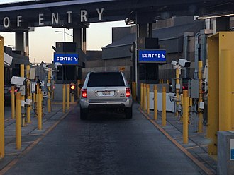 Secure Electronic Network for Travelers Rapid Inspection - SENTRI lanes at San Ysidro border crossing/port of entry, 2015. Tijuana, Mexico to San Diego, California.