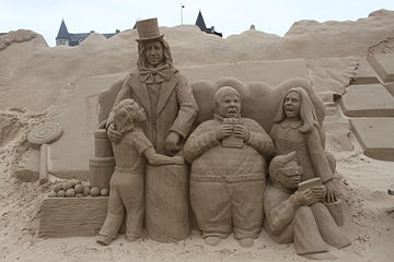 Sand Sculpture at Weston super Mare of Charlie and the Chocolate Factory by Anique Kuizenga