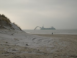 Coastal engineering - Beach nourishment at the Dutch coast.
