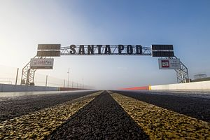 Santa Pod Raceway - The finish line gantry at Santa Pod Raceway