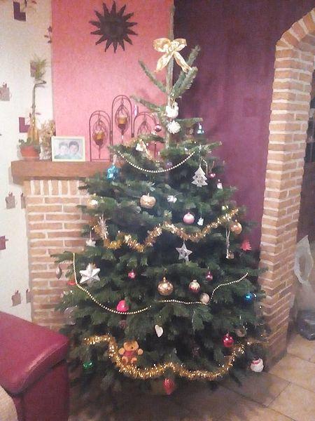 Un sapin de Noël dans une maison à Hensies (Belgique) en décembre 2015.