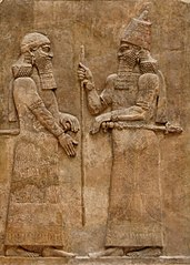 King Sargon II and a Dignitary-AO 19873-AO 19874