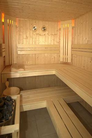 A modern sauna.