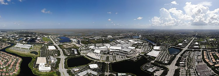 An aerial shot of the Sawgrass Mills Mall in Sunrise, Florida.