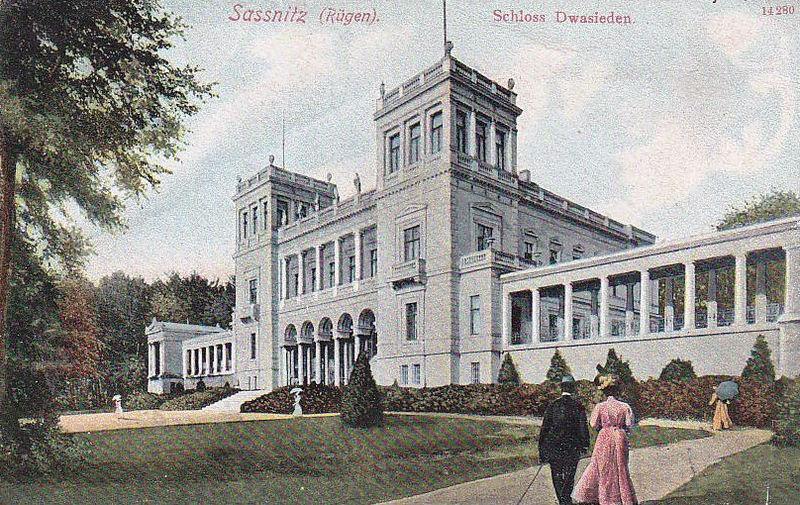 File:Schloss Dwasieden Ansichtskarte historisch Photochrom Farbe - Sassnitz Dwasieden Castle Manor House Rügen Island.jpg