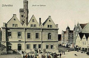 B. Traven - Town Hall in Schwiebus, B. Traven's supposed place of birth (postcard from around 1900)