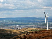 Wind farm on Scout Moor, overlooking Rochdale below.