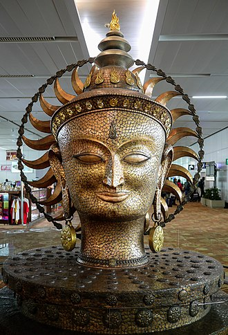 Indira Gandhi International Airport - Sculpture of Surya, the Sun god in Terminal 3.