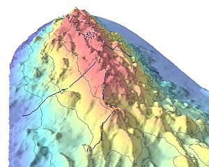 Bathymetric showing part of Davidson Seamount. The line indicates the route of the 2002 expedition, and the dots stand for significant coral nurseries.