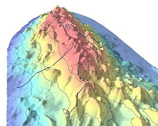 Seamount A mountain rising from the ocean seafloor that does not reach to the waters surface