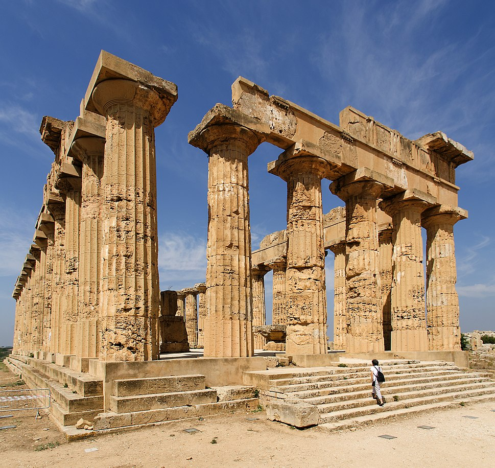 The columns of the Temple of Hera were re-erected, but most of the roof is missing.