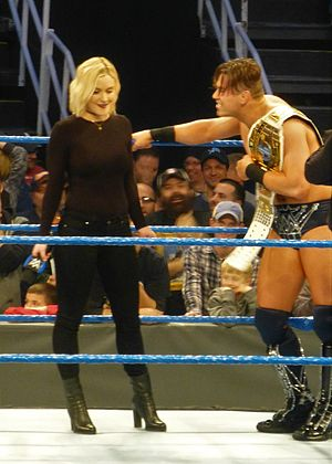 Renee Young - Young confronting the WWE Intercontinental Champion The Miz in December 2016.