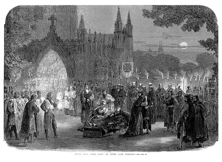 The last scene of an 1865 performance of Shakespeare's King John at the theatre, as depicted in the Illustrated London News Shakespeare's King John at Drury Lane Theatre.jpg