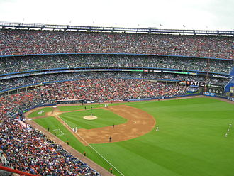 National League - Shea Stadium prior to the start of a New York Mets game in 2008. Shea had the best attendance in the National League that year, garnering over 53,000 fans per game on average.