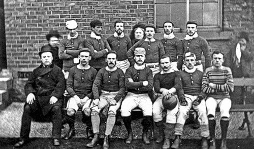 Sheffield F.C. (here pictured in 1876) is the oldest association club still active, having been founded in 1857 Sheffield fc 1876.jpg