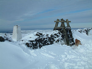 Shining Tor - The trig point and former ladder stile at the summit of Shining Tor.