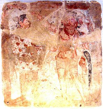 Oesho - Kushan worshipper with Oesho, Bactria, 3rd century CE.