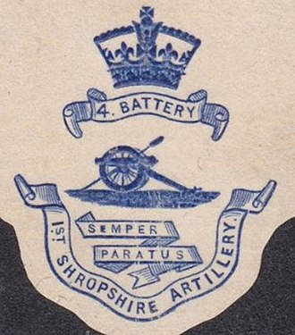 1st Staffordshire Artillery Volunteers - Letterhead of the 4th Battery, Shropshire and Staffordshire Artillery Volunteers, c1900