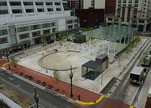 Aerial view of Director Park in Portland, Oregon.