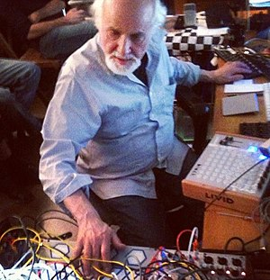 Morton Subotnick - Morton Subotnick playing a Buchla synthesizer at his studio, NYU (2012)