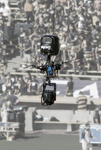 Skycam - Skycam HD at an ESPN on ABC–broadcast University of California, Berkeley football game.