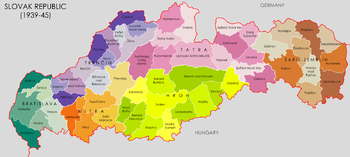 Color-coded map of the Slovak Republic