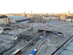Slussenområdet - Destruction of the area's main features began in 2015 when the famous oval-shaped Kolingsborg building was levelled.